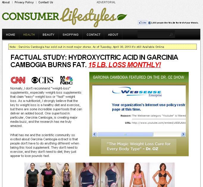 Consumer Lifestyles GARCINIA CAMBOGIA